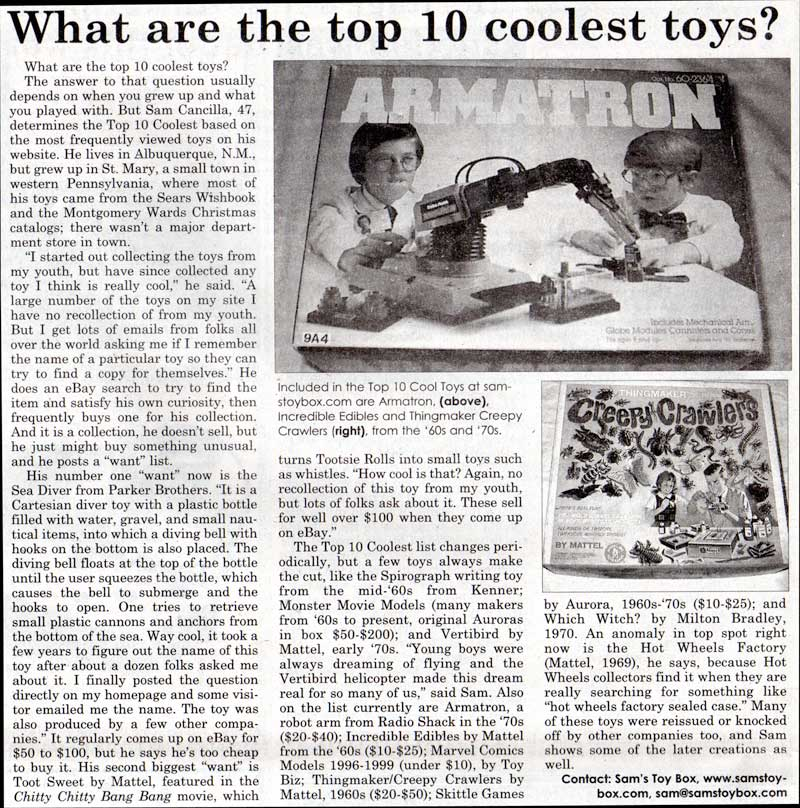 Scan of Antique Week article about Sam's Toybox