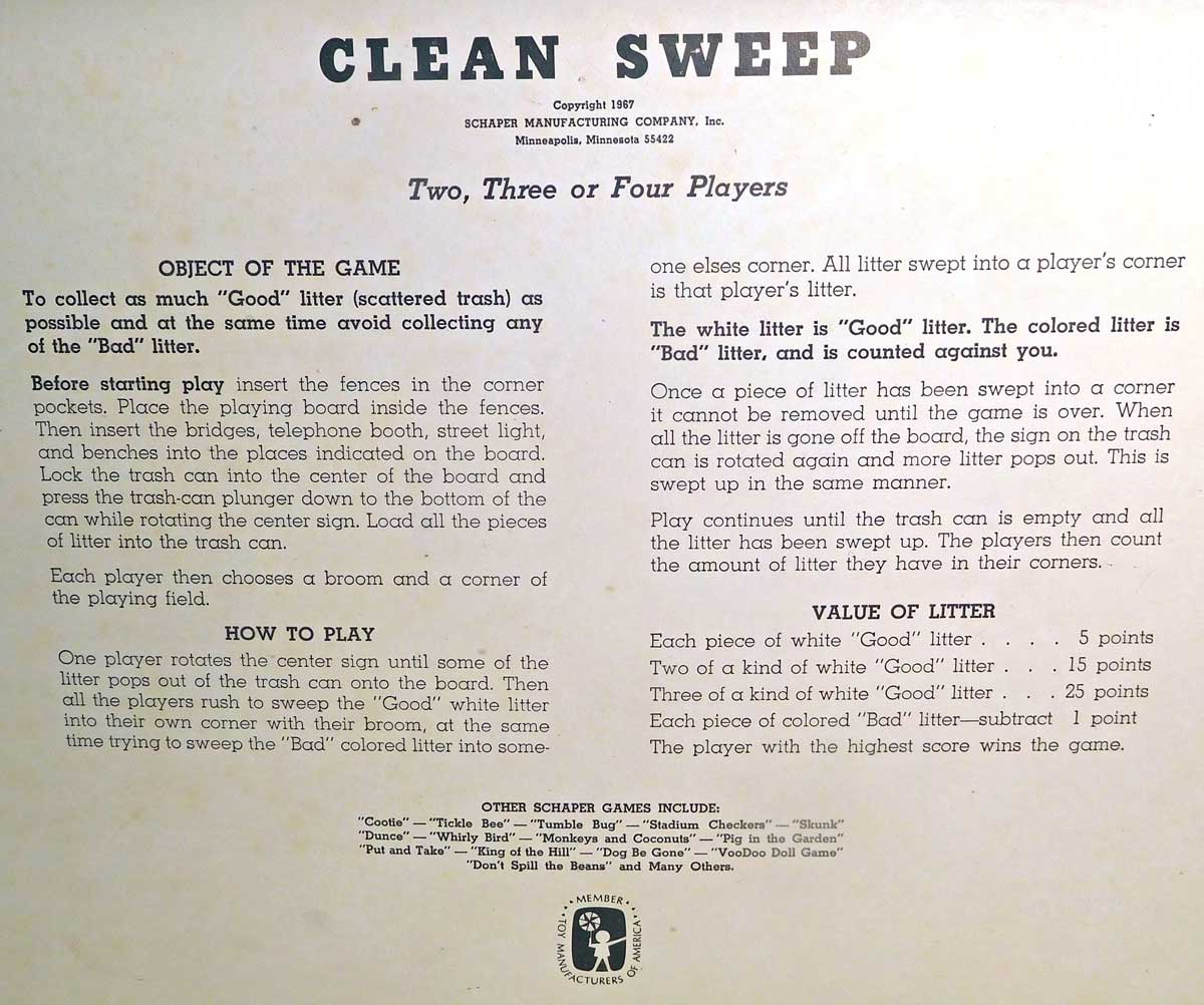 Clean Sweep Game Instructions
