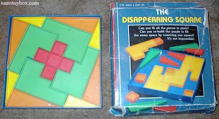Disappearing Square Puzzle with five small squares