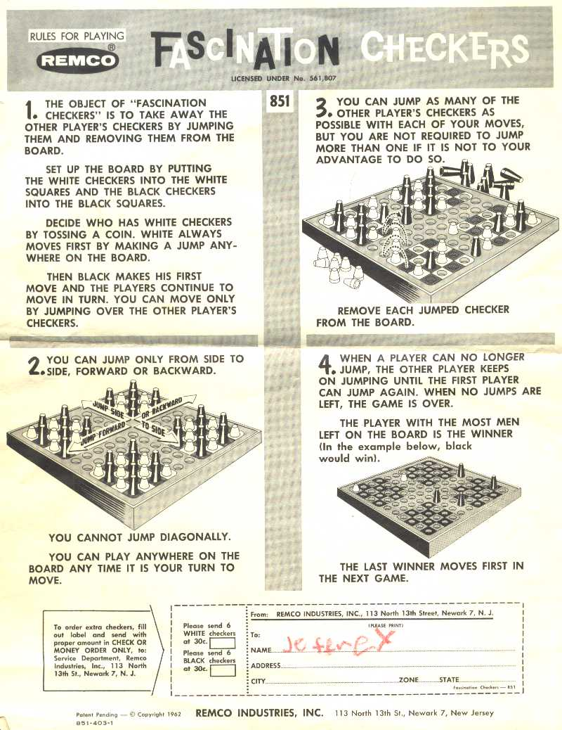 Fascination Checkers Instructions