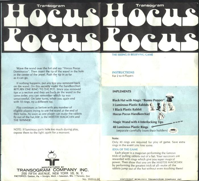 Hocus Pocus Game Instructions, pages 4 & 1