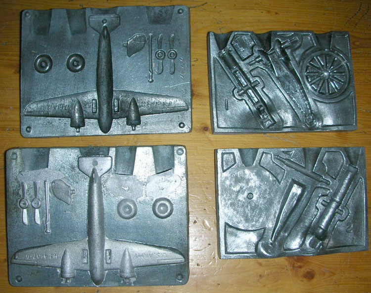Lead Casting Set airplane and cannon molds