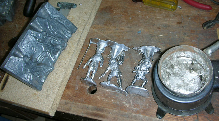 Lead Casting Set, early casting attempt