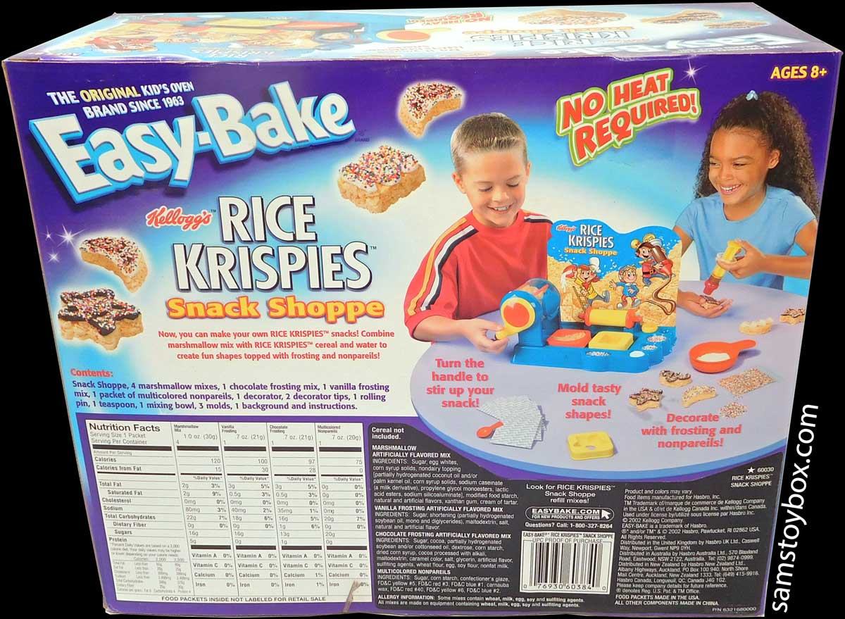 Contents of the Easy-Bake Rice Krispies Treat Shoppe Box Back.