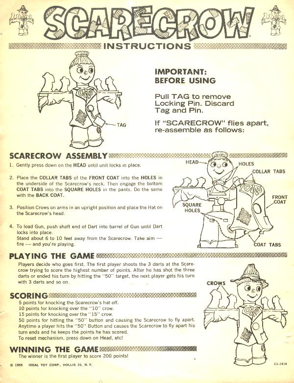 Scarecrow Target Game Instructions by Ideal