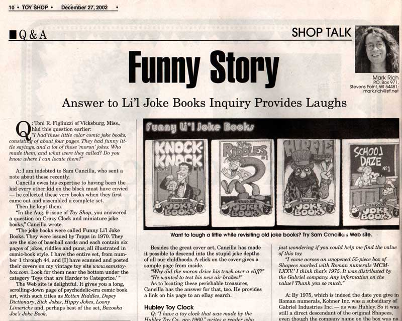Scan of Toyshop article about Funny Li'l Jokebooks on Sam's Toybox